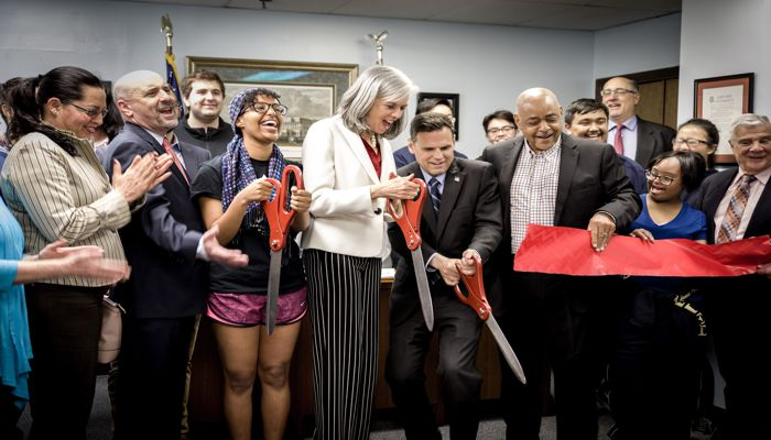 Mayor Gary Christenson and local officials joined Congresswoman Clark for a ribbon-cutting at her new district office, located just steps from the Malden Center T Station.