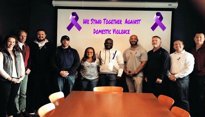 Malden Police purple ribbon brigade stands against domestic violence. We are greatful for  Respond Inc for all they do in support of our mission on a daily basis & especially during the month of October which is Domestic Violence Awarenes month. Visit https://respondinc.org