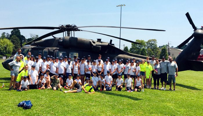 The US Army helecopter and it's crew with the Junior Police Academy recruits from Malden PD & Everett PD