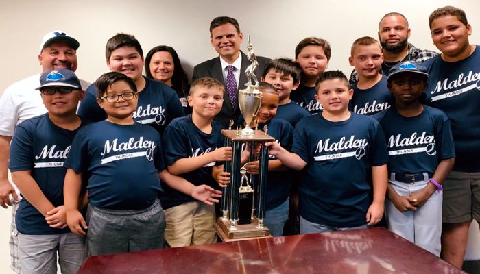 Mayor Gary Christenson welcomed players, coaches and parents from Malden Youth Baseball's Minor League championship team Thunder. The team shared stories with the Mayor of their favorite moments of the season and of the championship game itself