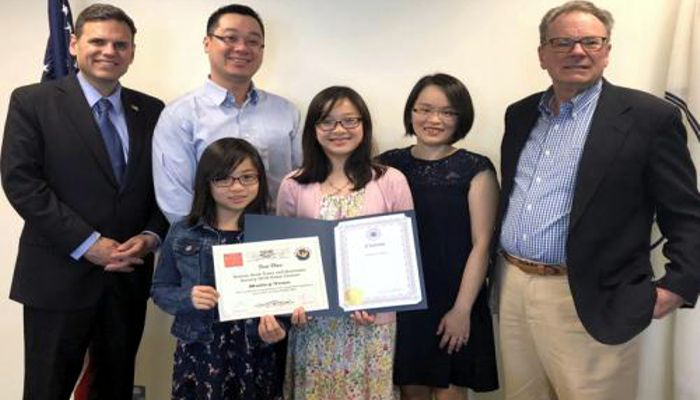 """MVRCS Student Wins Essay Contest and a Duck Tour for her Whole Class.  Mayor Gary Christenson recently invited Mystic Valley Regional Charter School 6th grade student Hailey Tran to the Mayor's office to congratulate her on her first-place win in the 2019 """"Bostonian Society and Boston Duck Tour"""" Essay Contest! A top student at the Mystic Valley Regional Charter School, Hailey is known for always going above and beyond in her studies"""