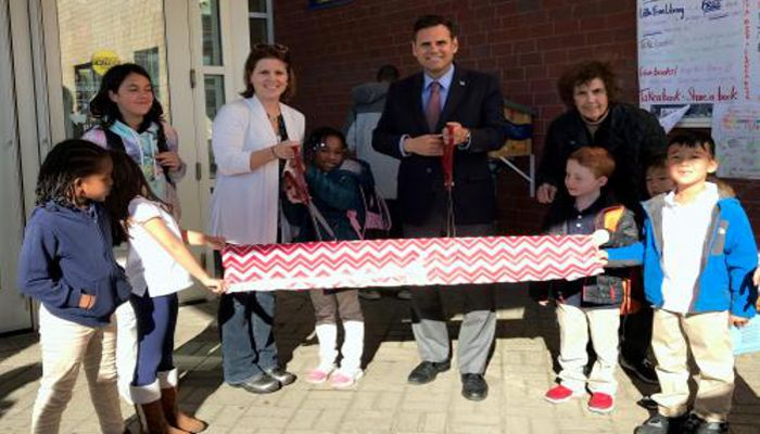 School Committee Member Tara Murphy Beardsley welcomed Mayor Gary Christenson, Superintendent of Schools John Oteri, students, families and the public at a recent ribbon cutting for the brand-new Little Free Library at Malden's Linden STEAM Academy.
