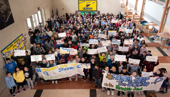 The annual #MaldenStopTheStigmaDay was a big success, with schools across the city taking part. Each of the Malden Public Schools along with Cheverus School and Malden Catholic High School participated.