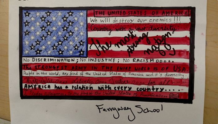 7th grade students at the Ferryway School inspired by the Pledge of Allegiance