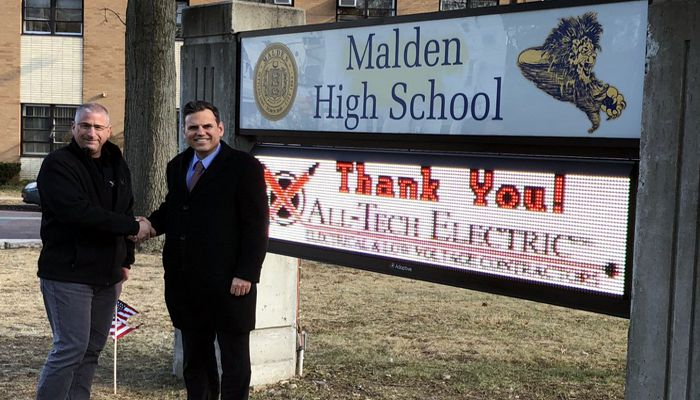 Thank you to Malden's own John Spadafora, Jr. and All-Tech Electric for donating a new message board at Malden High School