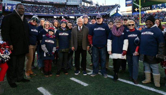 "The Kraft family and the New England Patriots Foundation celebrated the ongoing ""Celebrate Volunteerism"" initiative in a halftime ceremony during the Patriots' regular season finale.Two of the winners recognized were Harry and Heath Bennett, of Malden, the young entrepreneurs behind Bennett Brothers Balm."