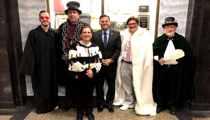 Mayor Gary Christenson Says there is No better place to perform a reading of A Christmas Carol than at Malden High School's Jenkins Auditorium which was made possible thanks to Art teacher Mary Ann Seager!