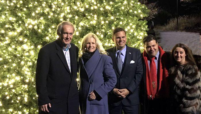 Admiring the new Christmas Tree at Fellsmore Pond is Senator Ed Markey & wife Susan, Mayor Gary Christenson, and City Councilor Craig Spadafora & his wife Debbi who donated the tree