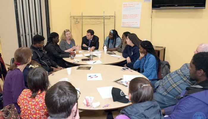 Mayor Gary Christenson meets with Malden High students. The Mayor's Task Force on Racial Harmony  will advise the City of Malden on matters related to racial harmony and racial justice.