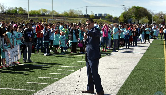 Mayor Gary Christenson in opening the 2017 ceremony of the Malden School Day Special Olympics Games on Thursday, May 4th at Macdonald Stadium