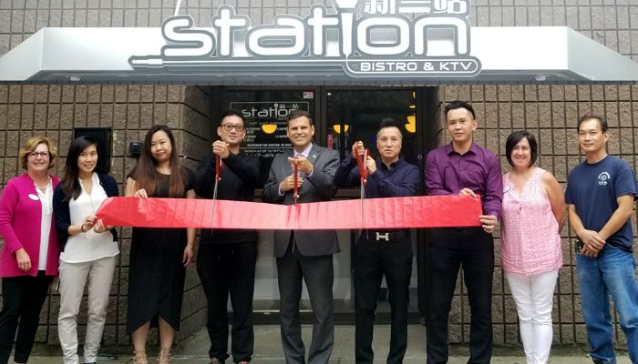 Ribbon cutting ceremony for Station Bistro & KTV, a fun and modern karaoke bar located at 76 Exchange Street in the heart of Malden.