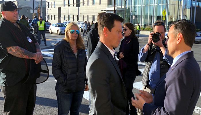 Mayor Christenson welcomes Director Peter Berg and Actor Mark Wahlberg to Malden where they spent the better part of a day filming a scene at the Malden Police station for their new movie!