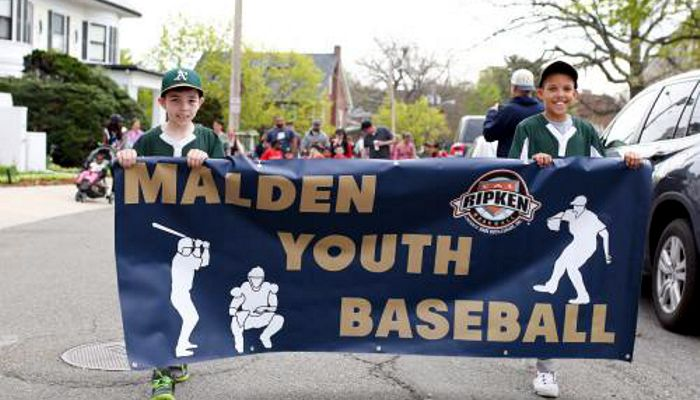 The Malden Youth Baseball Opening Day Celebration began with a parade that began at the Beebe School and marched to Bruce Field at Devir Park. The festivities continued with lively baseball games played by the Minor and Major League division teams.