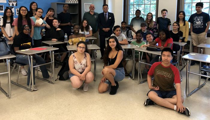 Mayor Gary Christenson welcomes MHS's incoming ninth graders as part of the Malden Adventures and Academics Program led by Ms. Craven and funded by the Bayrd Foundation!
