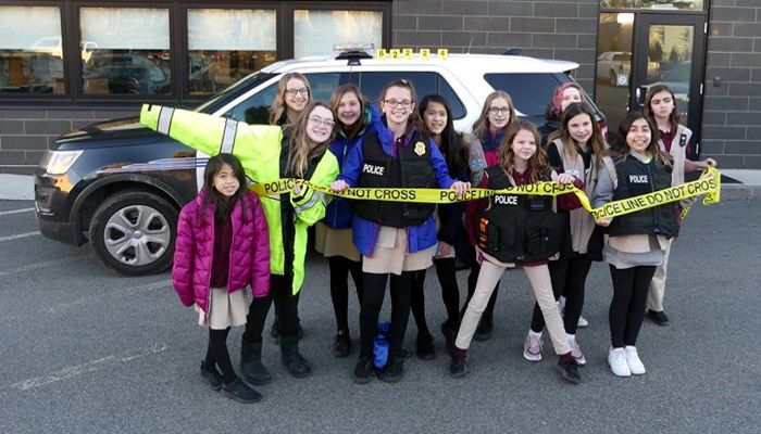 "Future Leaders Visit Malden PD. Girl Scout Troop 82224 earned their ""detective badges"" by participating in a variety of tasks during their visit to our H.Q.  Troop 82224, fantastic job today on your introduction into investigations. The Troop learned a little about, locating and lifting fingerprints, interviewing, and preparation and planning before an investigation  - Stay Safe and Keep Learning."