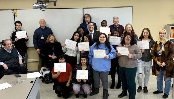 """Malden students on complet a first-ever Disability History Class: """"From Institutions to Independence"""" which was made possible thanks to a grant from the Bayrd Foundation and through the partnership of the Disability Policy Consortium and MHS's Ms. Collomb!"""