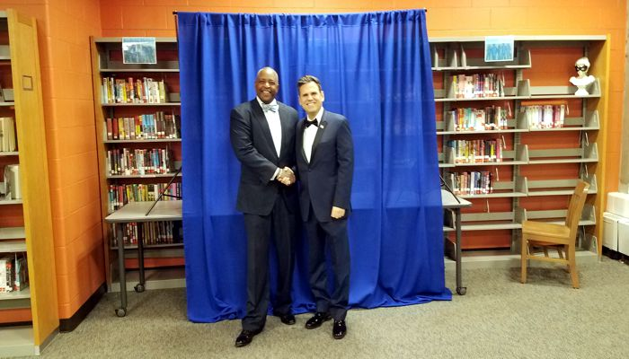 The Honorable Kenneth V. Desmond Jr. Associate Justice of the Massachusetts Appeals Court with Mayor Gary Christenson at his Inaugural Ceremonies