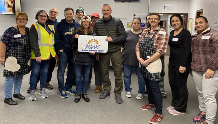 Malden's Warming Center with Police Chief and Mayor spending time with those availing themselves of this important resource and thanking Pastor Whetstone and all the volunteers for making this happen for a second straight year.