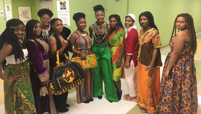 Great celebration of Black History. Some Malden High School students dressed in cultural dress for the fashion show!