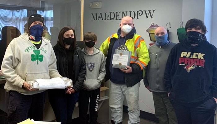 Employees at the Dept of Public Works were delivered a sweet surprise - packages of chocolate chip cookies provided by Cookies for Caregivers Boston in appreciation of the DPW employees' continued work during the pandemic. From snow and trash removal, to maintenance and upkeep of street and sidewalk repairs, the DPW is 24/7 & Cookies for Caregivers Boston acknowledged and personally thanked employees for their service and commitment to the community.