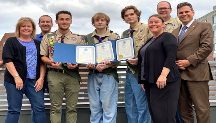 Mayor Christenson welcomed Eagle Scouts Alex Cogliano, Mason and Liam Burne to City Hall to present them with citations for achieving the rank of Eagle Scout. All three young men impressed the Mayor with their projects. Alex Cogliano installed a Little Library at Fellsmere Pond. Mason Burne worked to construct a new trail loop at the summit of High Rock Park. Liam Burne worked with the Somerville YMCA to make masks for preschool aged children.